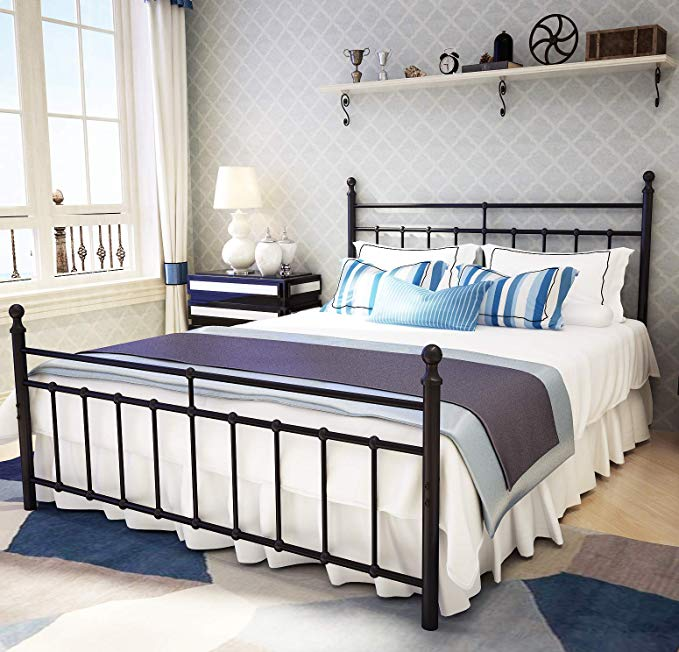 Amazon Com Metal Bed Frame Queen Size With Vintage Headboard And