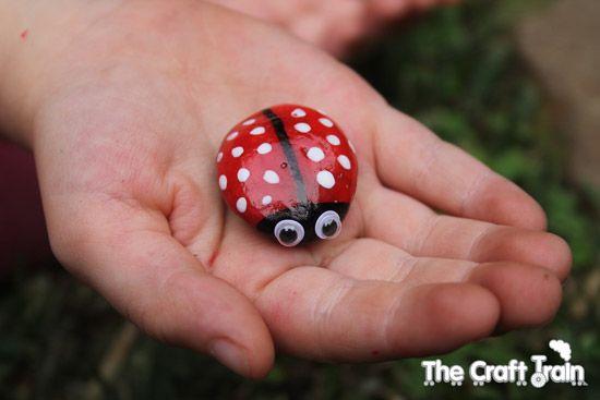 Lady Beetle Pet Rock Paint Pebble With Nail Polish
