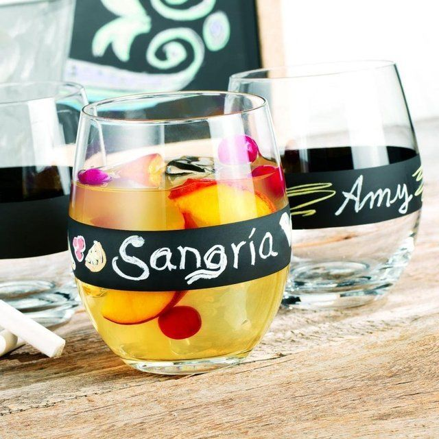 Chalk It Up Stemless Wine Glasses