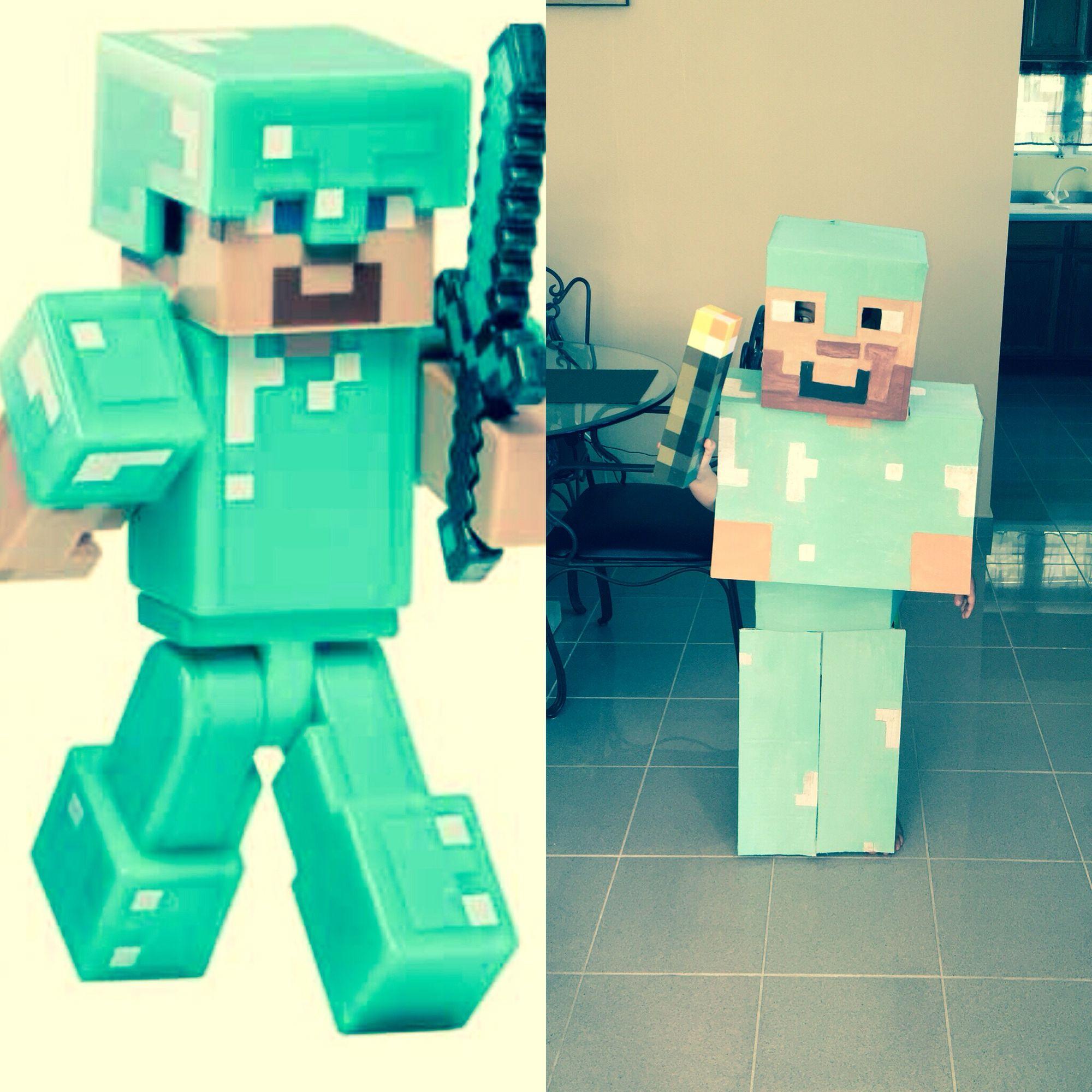 Disfraz De Steve Con Armadura De Diamante De Minecraft Con Carton