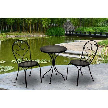 Mainstays 3 Piece Small Space Scroll Outdoor Bistro Set Black Seats 2 Eisen Gartenmobel Gartenmobel Sets Bistrotisch