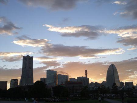 Kanagawa, Yokohama MInatomirai on Sunset Time
