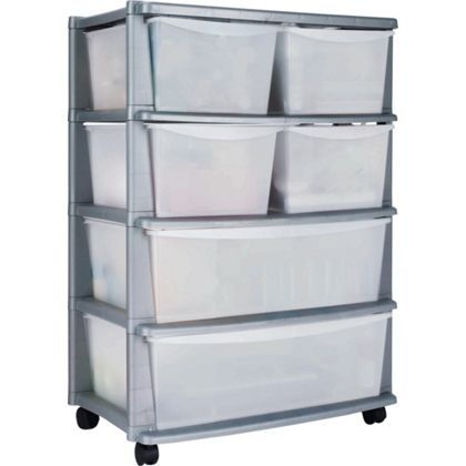 6 Drawer Plastic Wide Storage Chest Silver Homebase Plastic Box Storage Plastic Storage Drawers Storage Towers