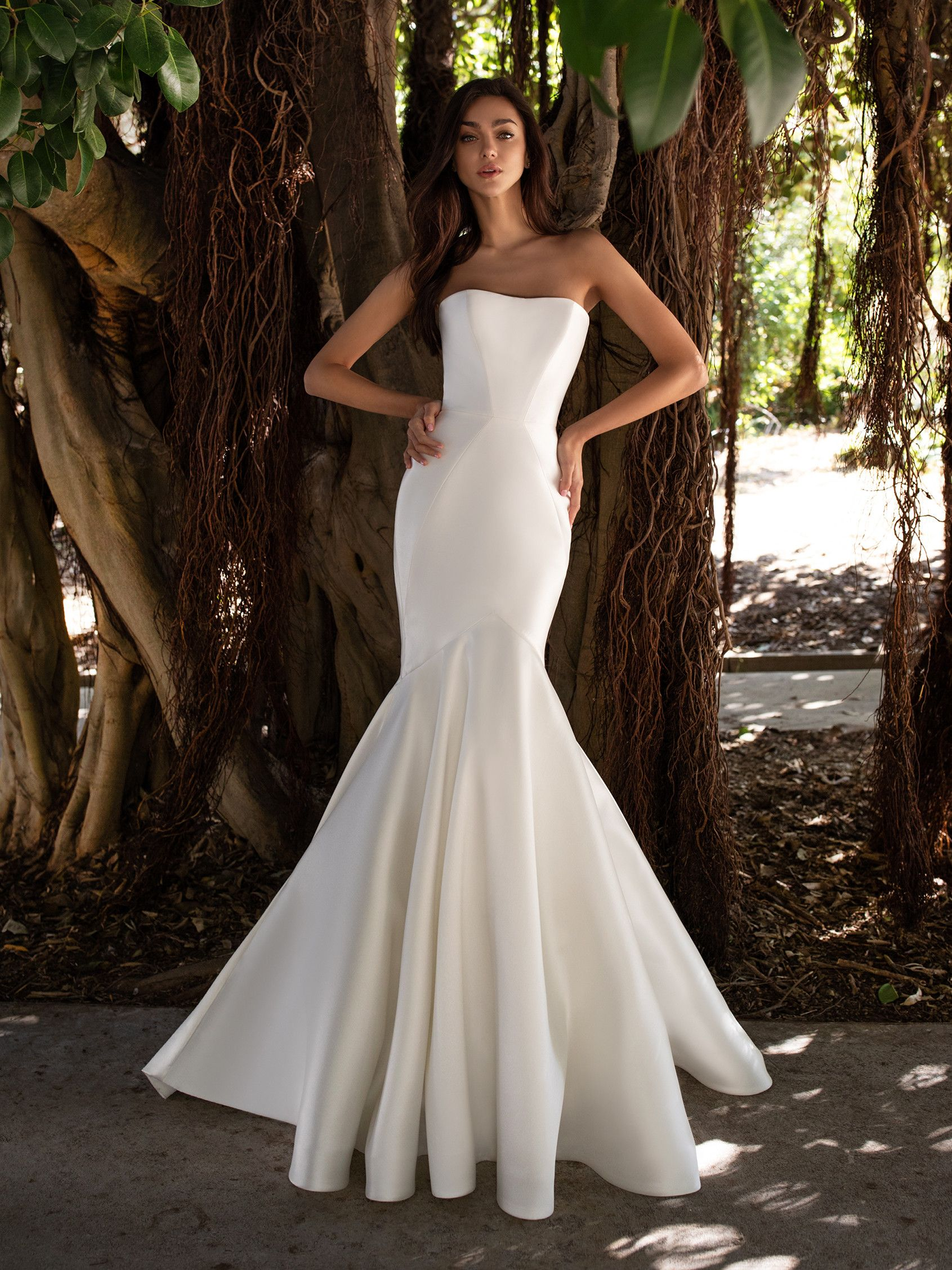 Strapless Mermaid Wedding Dress With Open Back Pronovias Satin Mermaid Wedding Dress Strapless Wedding Dress Mermaid Wedding Dresses Strapless [ 2255 x 1691 Pixel ]