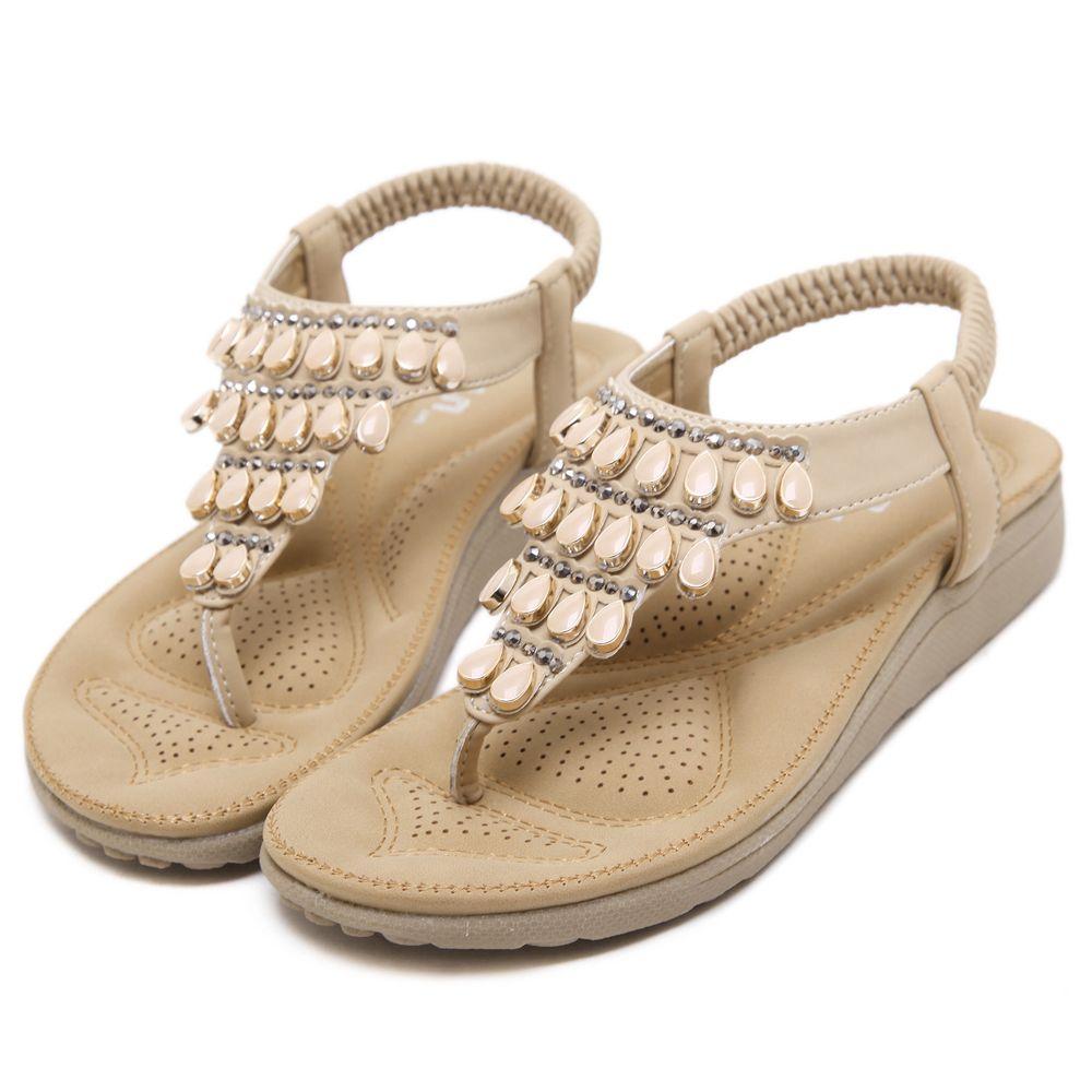 997945d02d45 Bohemian Rhinestone Flat Shoes Beach Sandals