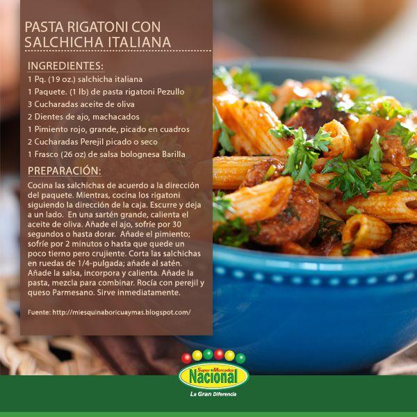 Pasta Rigatoni con Salchichas Italianas.