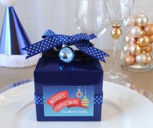Gift-Tag-Stickers-Gable Box-in-Place-Setting #DIY #Christmas www.bottleyourbrand.com