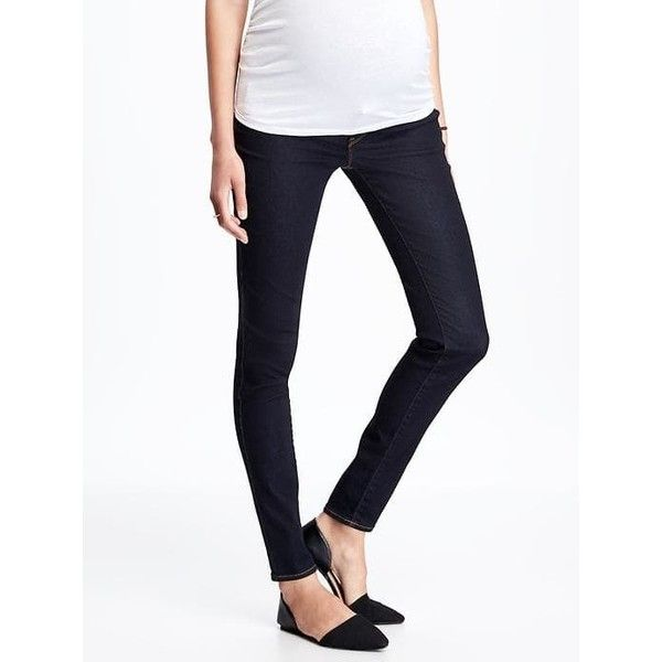 11603f4234e Old Navy Maternity Premium Full Panel Mid Rise Rockstar Jeans ( 40) via  Polyvore featuring maternity and blue