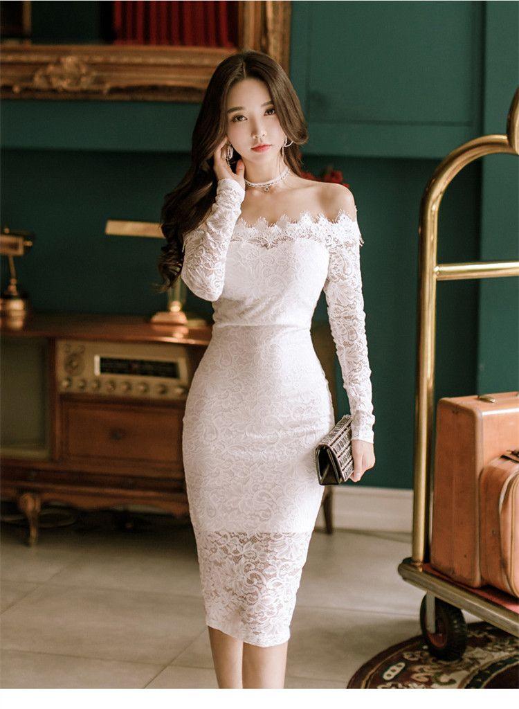ea8ff5920f Beautiful Asian Girls · 2017 Outono Nova Sexy Vestidos de Festa Mulheres  Bodycon Vestidos Vestidos de Slash pescoço Vestido Lápis