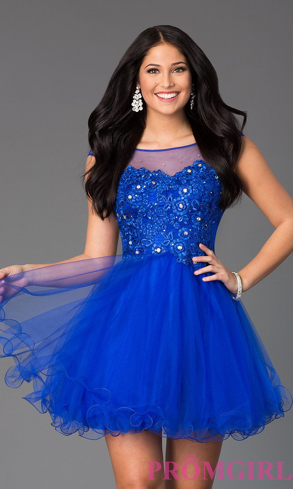 image of beaded lace short prom dress style dq front