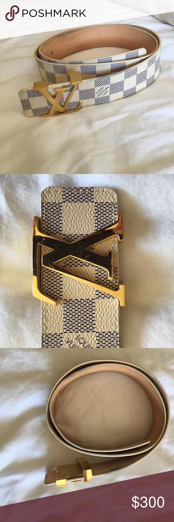 Authentic Louis Vuitton Damier Belt White - Men | Louis ...