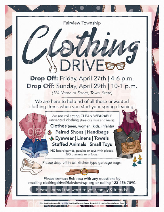 clothing drive event flyer printable