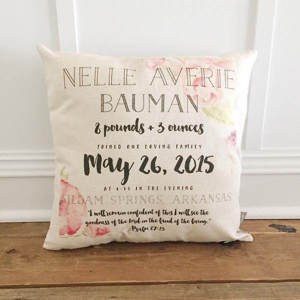 baptisms or first birthdays Perfect gift for new borns Custom colours. Beautiful new born info pillows for a new baby girl christenings