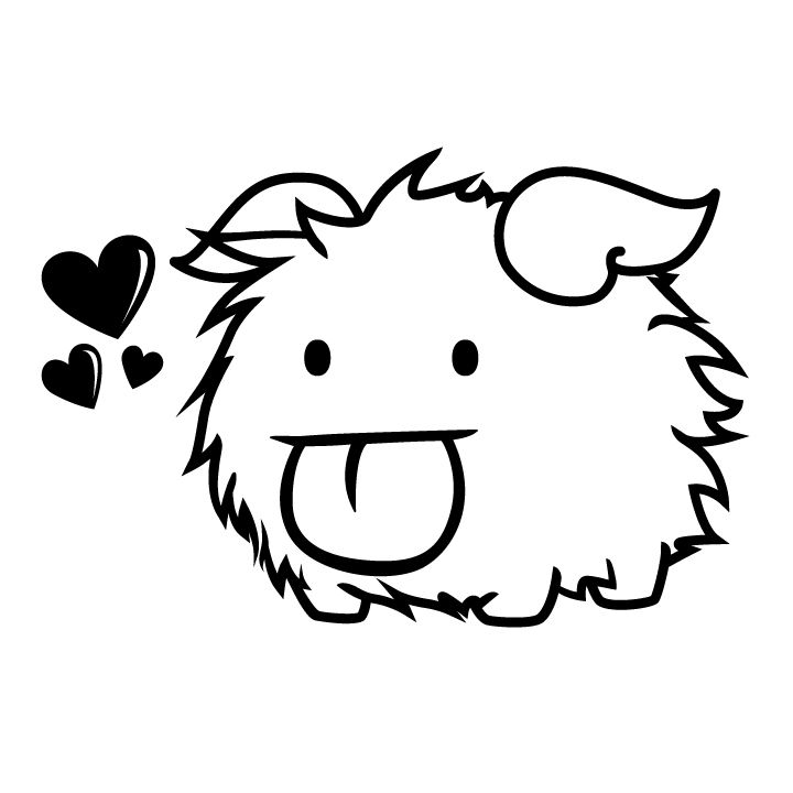 "My friend designs these!!!!! Poro from the ever popular, League of Legends.He wanders the land of the ARAM map called Howling Abyss.Now he can be with you where ever you stick him!Black3"" wide(5"" is also available)"
