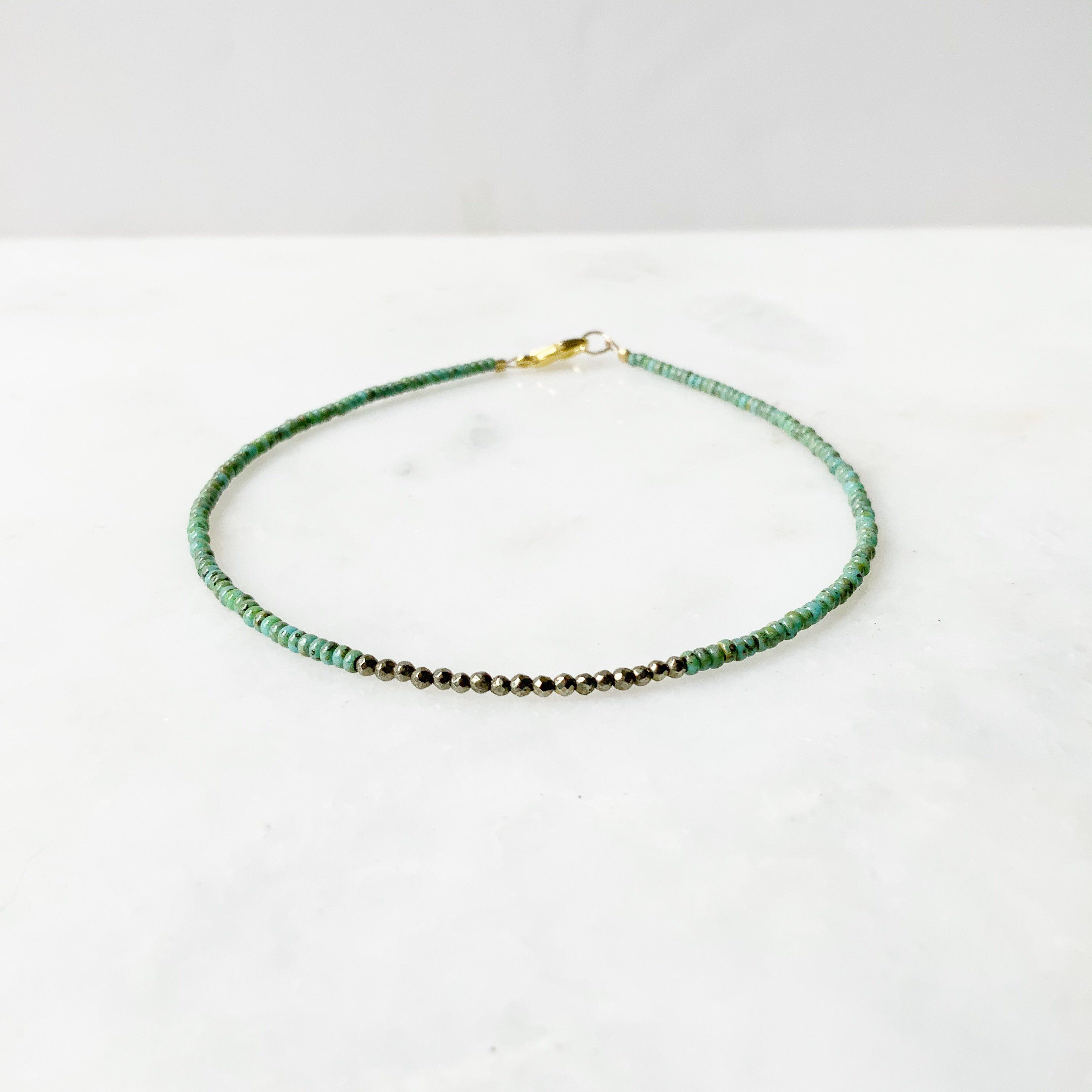 Photo of Women's Green And Pyrite Anklet, Summer Beach Anklet For Women, Delicate Dainty Anklet, Beaded Crystal Jewelry, Boho Ankle Bracelet