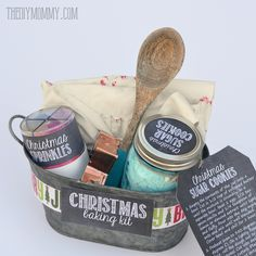 Gift basket idea a christmas baking kit in a tin put sprinkles put sprinkles cookie mix a cookie cutter a wooden spoon and an apron in a pretty tin for a great gift idea comes with free printable labels negle Gallery