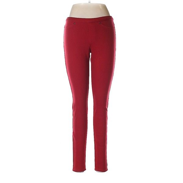 Pre-owned Hue Jeggings (€13) ❤ liked on Polyvore featuring pants, leggings, red, red jean leggings, jean leggings, red pants, red trousers and red jeggings