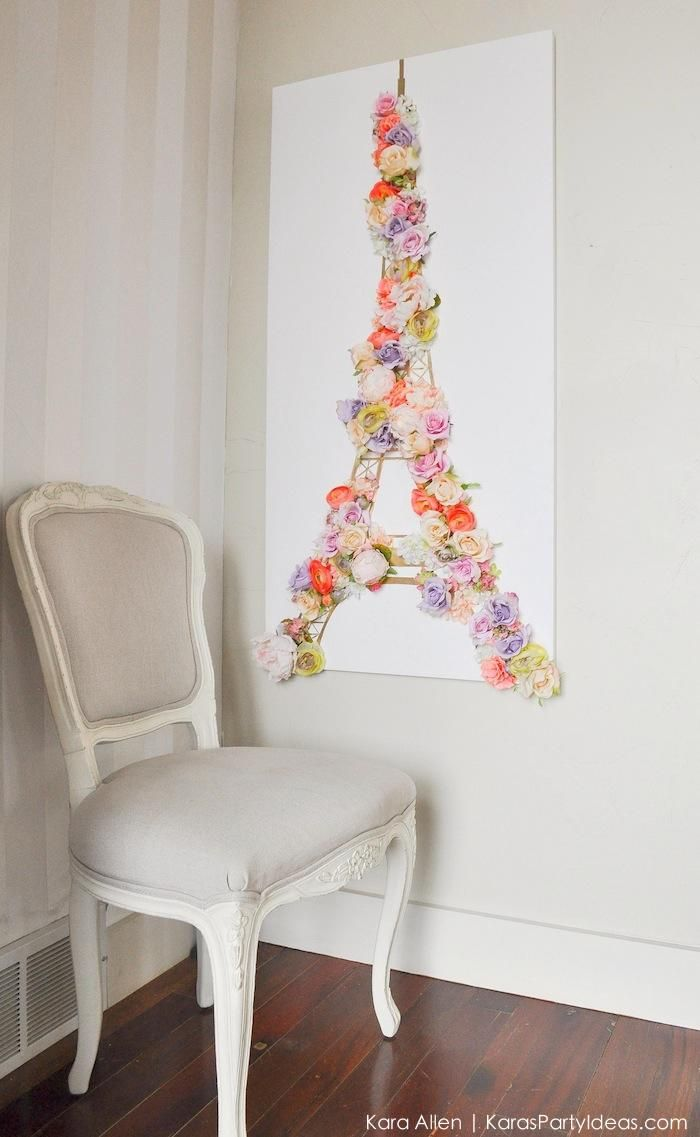 Diy paris eiffel tower floral and gold wall canvas for Diy flower canvas wall art