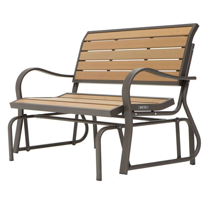 4-Ft Weather-Resistant Outdoor Loveseat Glider Bench in Wood Grain - Quality House