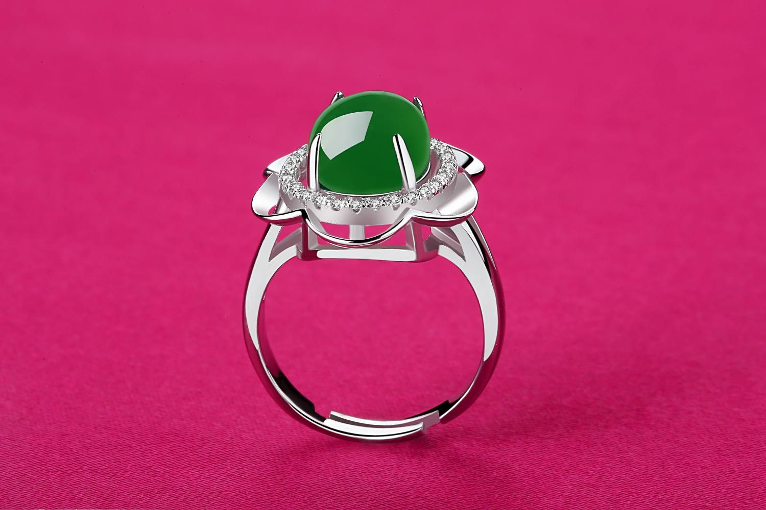 High Quality Natural Emerald Agate 925 Sterling Silver Women Rings ...