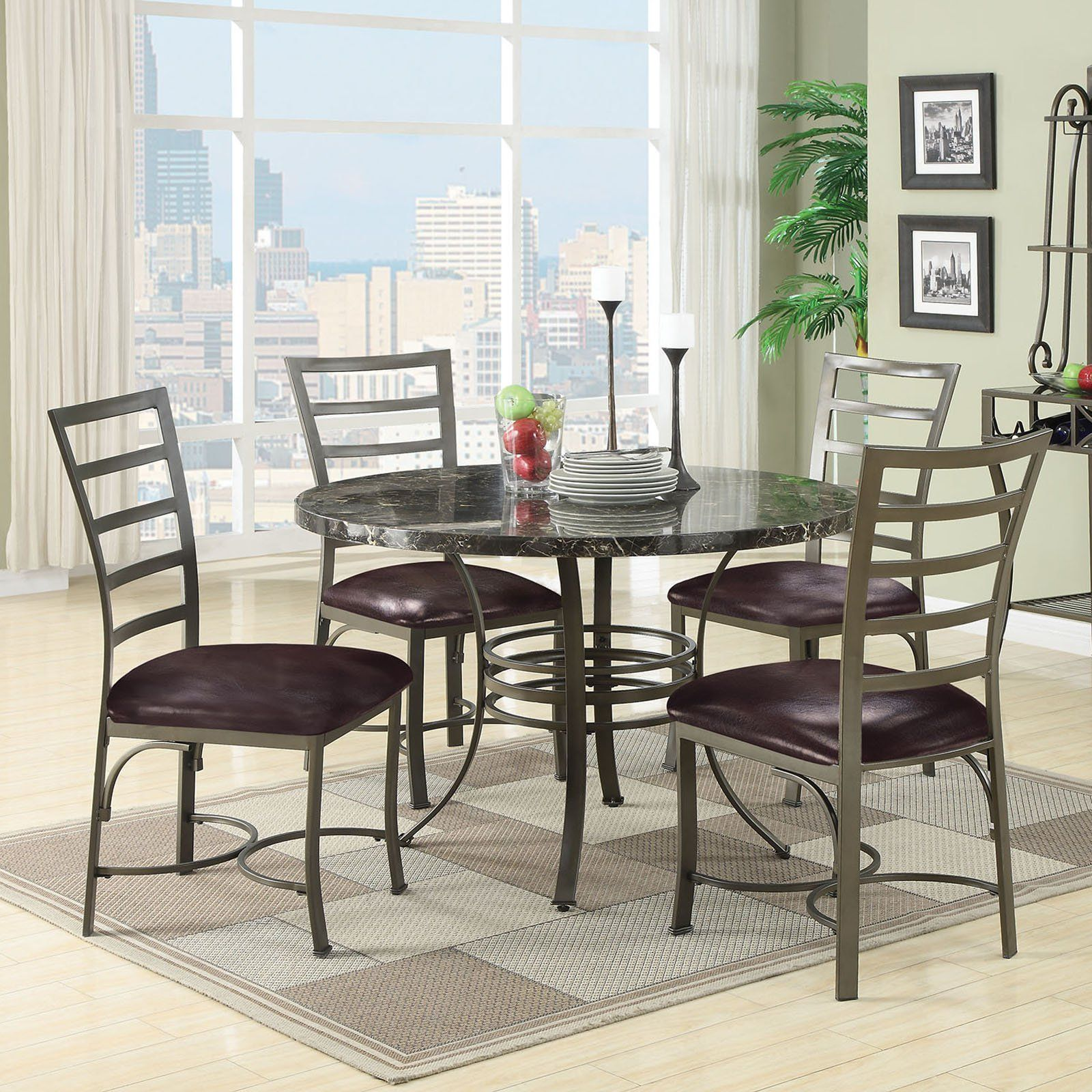 Acme Furniture Daisy 5 Piece Round Faux Marble Dining Table Set Simple Acme Dining Room Set Decorating Design