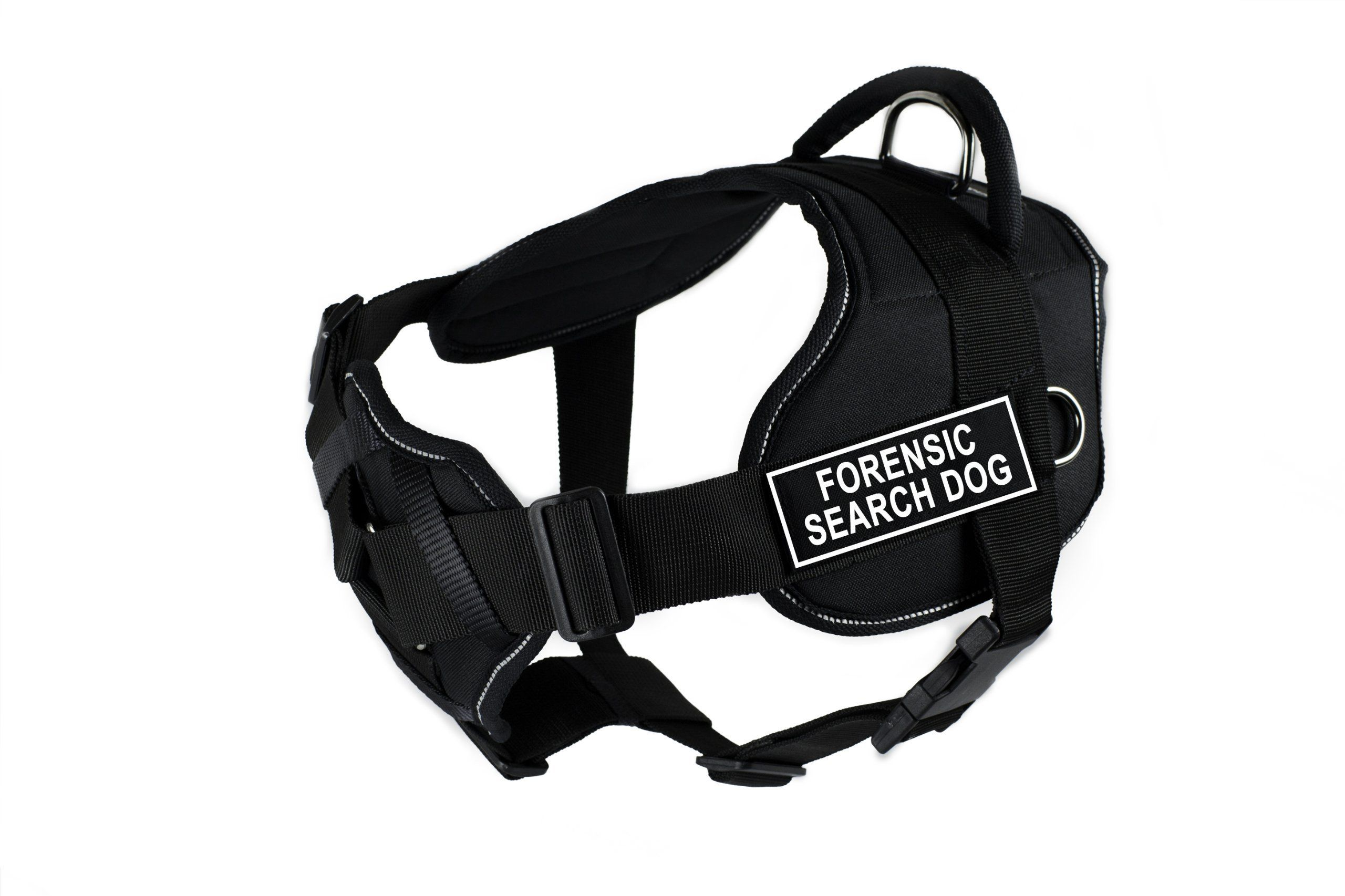 Dean & Tyler Fun Works Forensic Search Dog Harness with Padded Chest Piece Medium Fits Girth Size: 28-Inch to 34-Inch Black with Reflective Trim