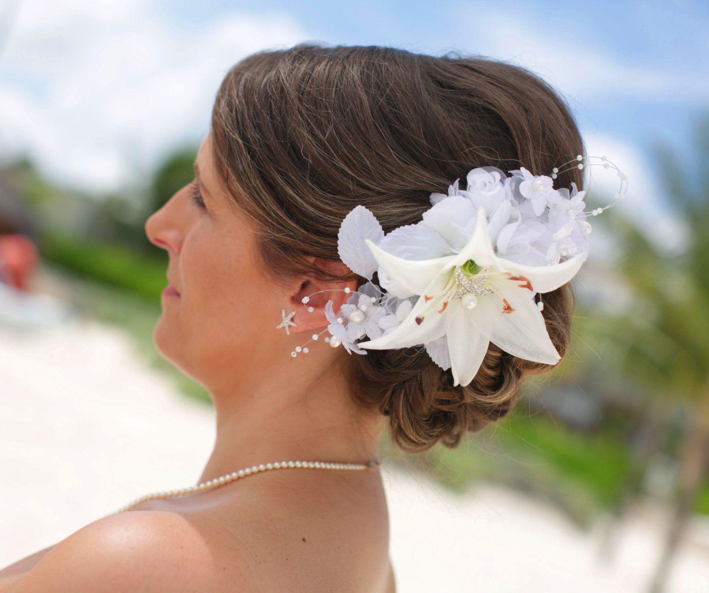 tropical hawaiian or beach wedding hair accessory, floral