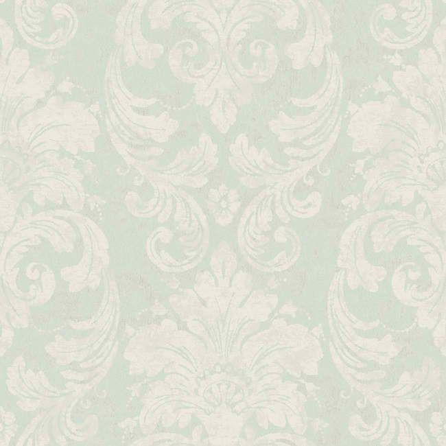 Soft Teal RG4904 Velvet Damask Wallpaper