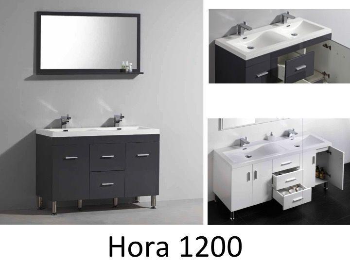 Meuble de salle de bain 120 cm double vasque, HORA 1200 Blanc ou
