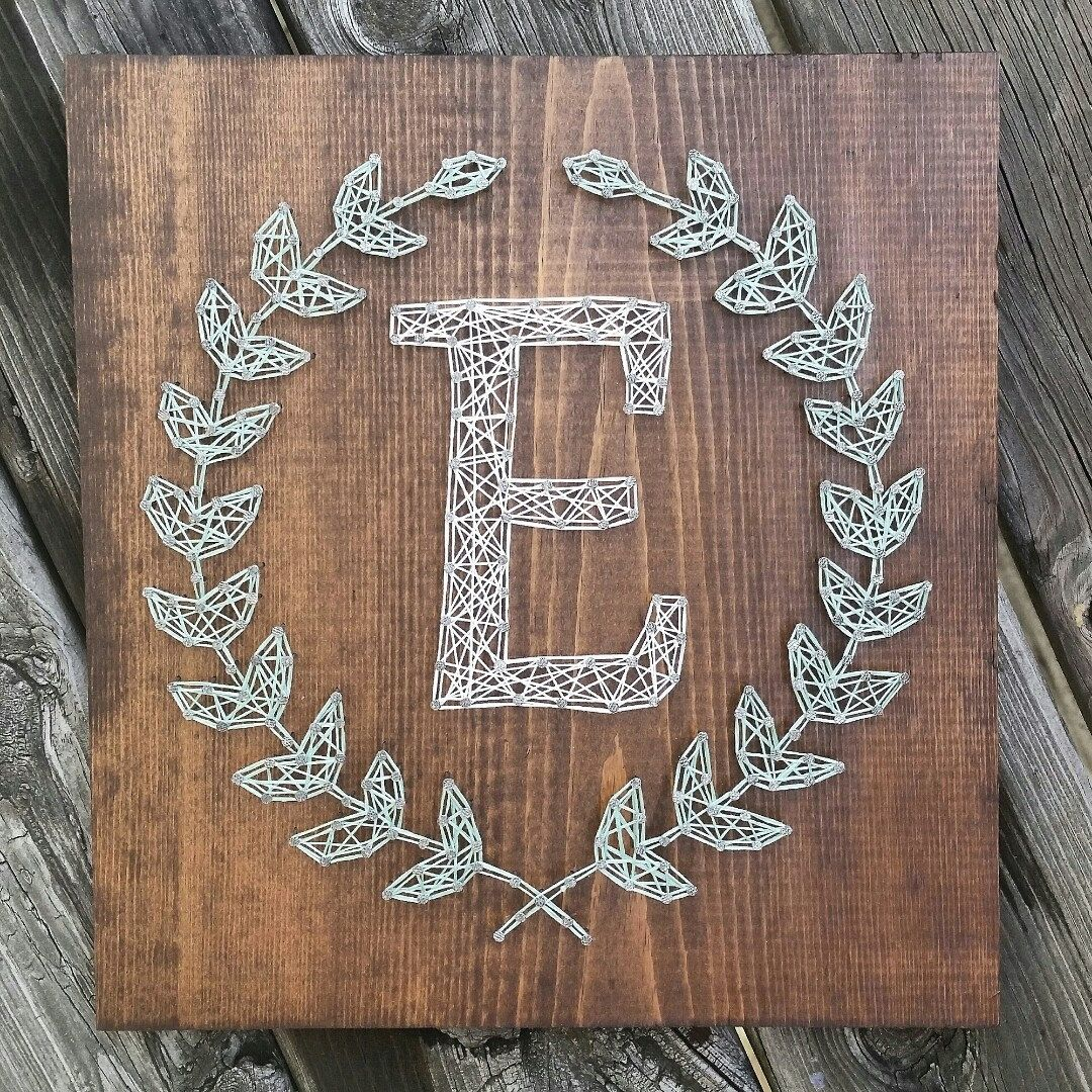 Made to order string art laurel leaf monogram sign string art custom string art laurel leaf monogram sign by blossomingburlap on etsy prinsesfo Choice Image