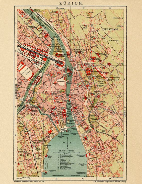 Zurich, World map print, Ancient maps, Atlas, Ancient map, Map of - new unique world map poster