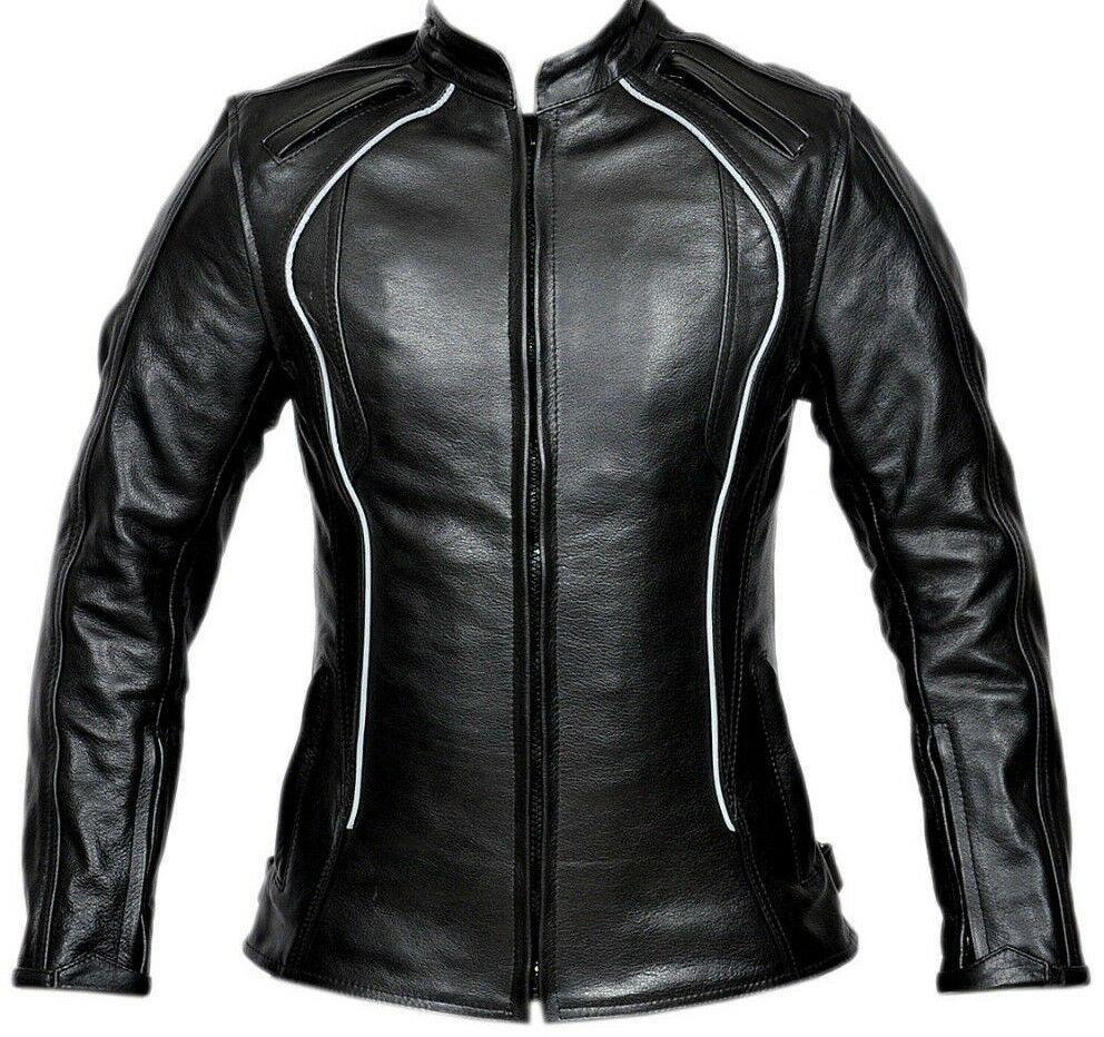 Women's Black Biker Genuine Leather Slim Fit Motorcycle