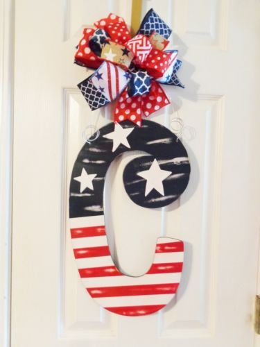 Hand Painted Wood Door Hanger Patriotic Distressed American Flag Any Letter Hand Painted Wood Hand Painted Signs Door Hangers