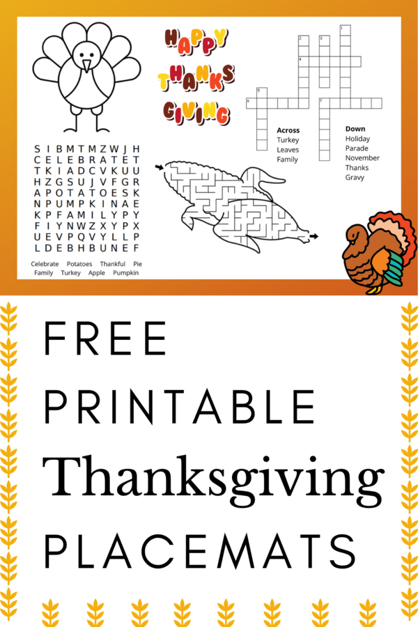 Printable Thanksgiving Placemat For Kids Thanksgiving Printables Thanksgiving Placemats Kids