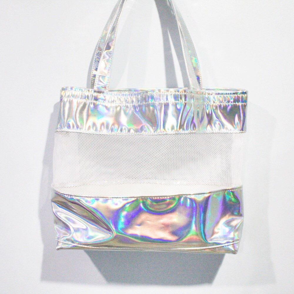Holographic Clear Tote Net Mesh Shoulder Silver Hologram Transpa School Travel Beach Bag By Pingypear On