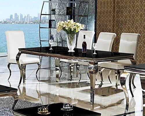 Gut Esstisch 180 X 90 X 76 Lara Schwarz Esszimmer Designer Luxus Tisch Büro  Edelstahl Glas Barock