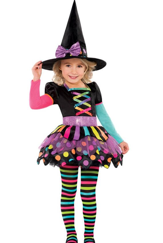 b29b9ee819c2 Witch dress kids Halloween costume witch hat party costume ...