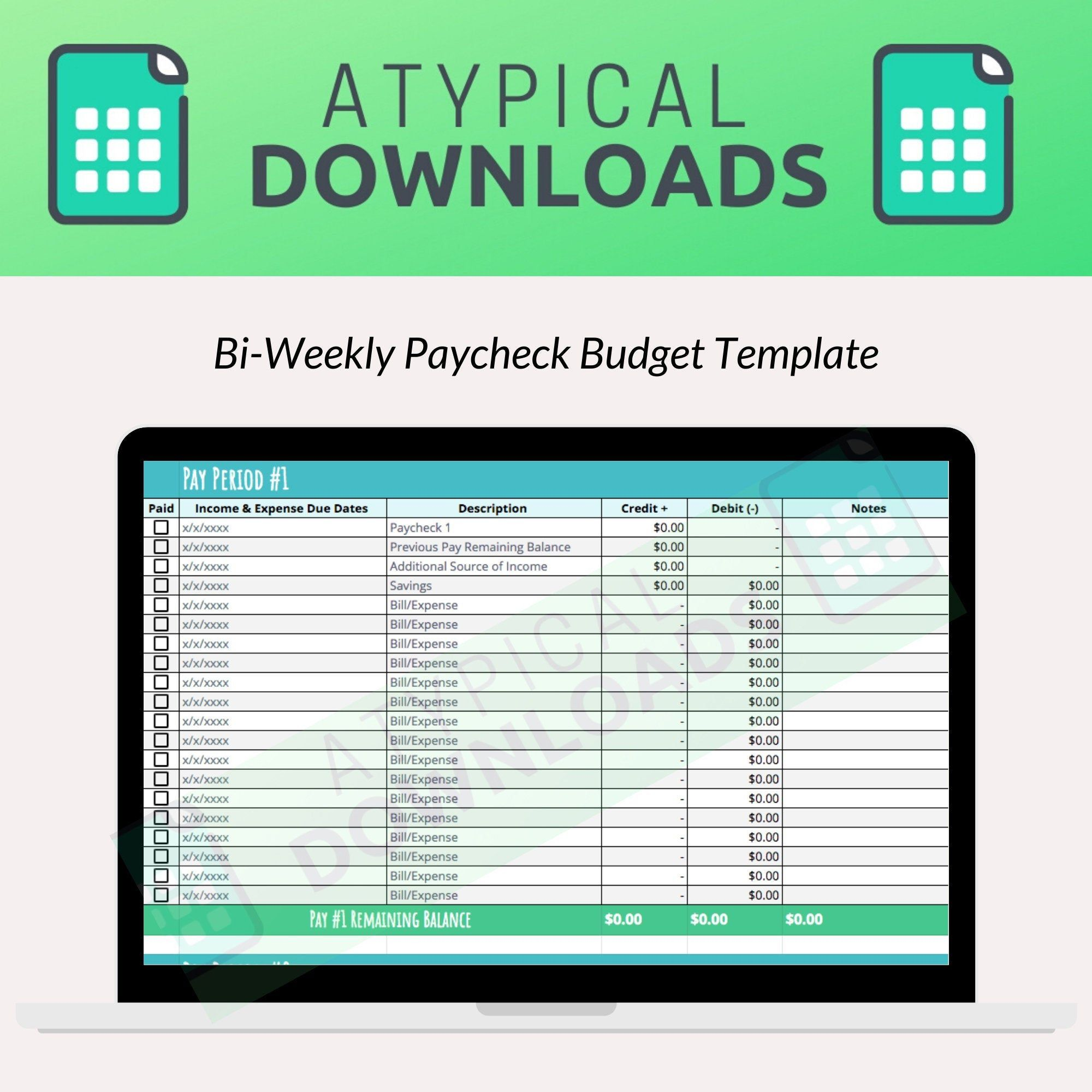 Bi Weekly Paycheck Budget Template For Excel Amp