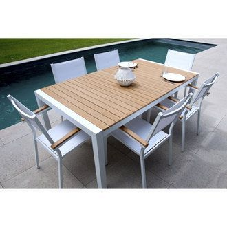 salon de jardin 6 places aluminium composite table 180cm 6 fauteuils teek - Salon De Jardin Composite