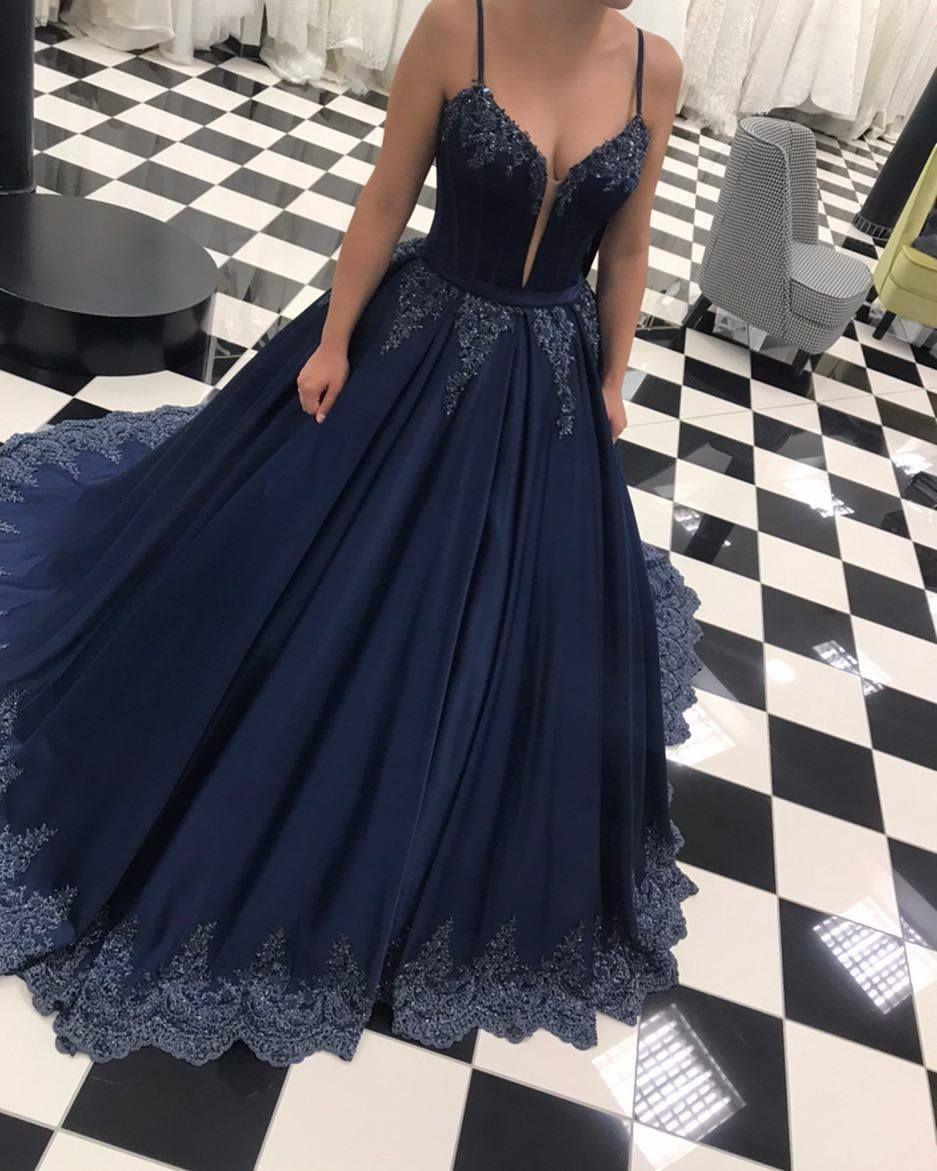Dunkel Blau Abendkleider Lang Günstig Prinzessin Spitze Abendmoden