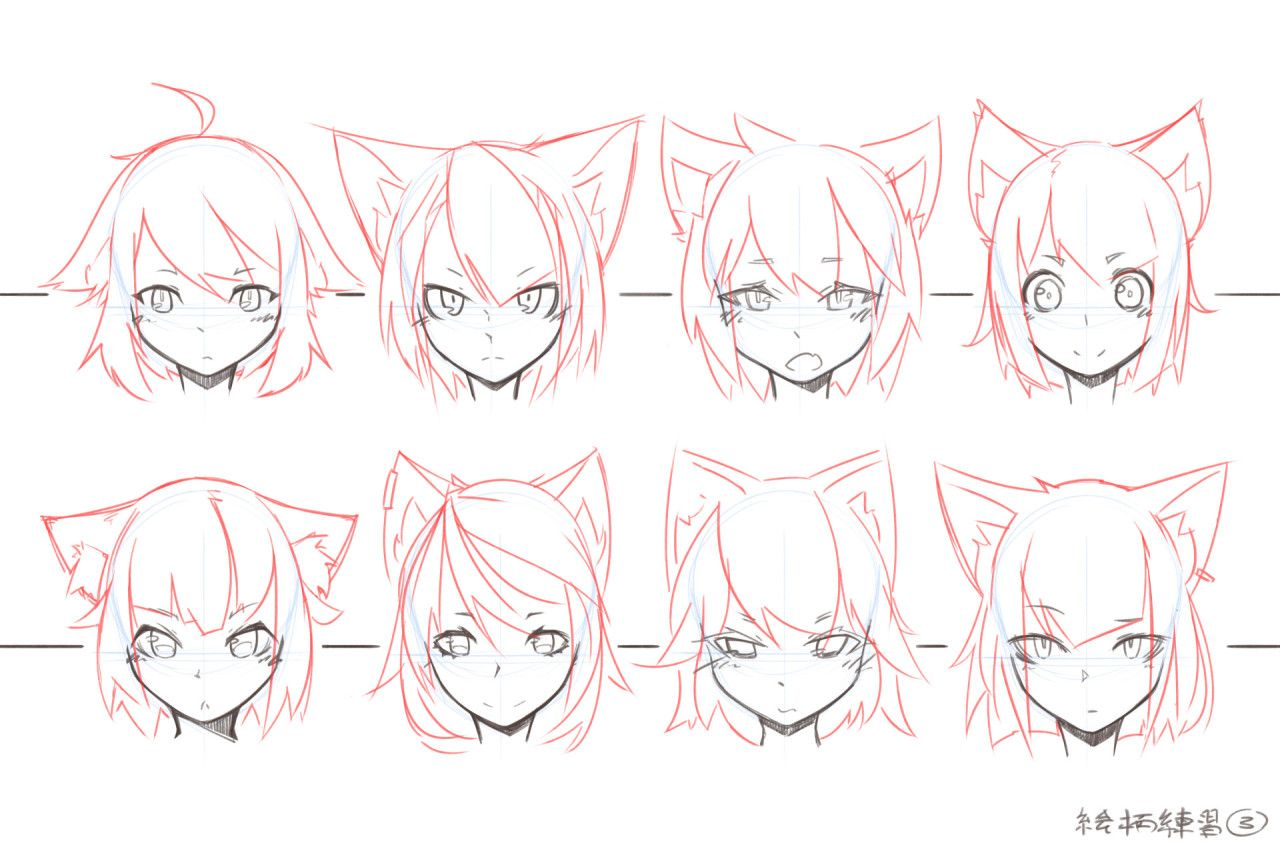 Face Style Variations by Mendel Oh Anime drawings