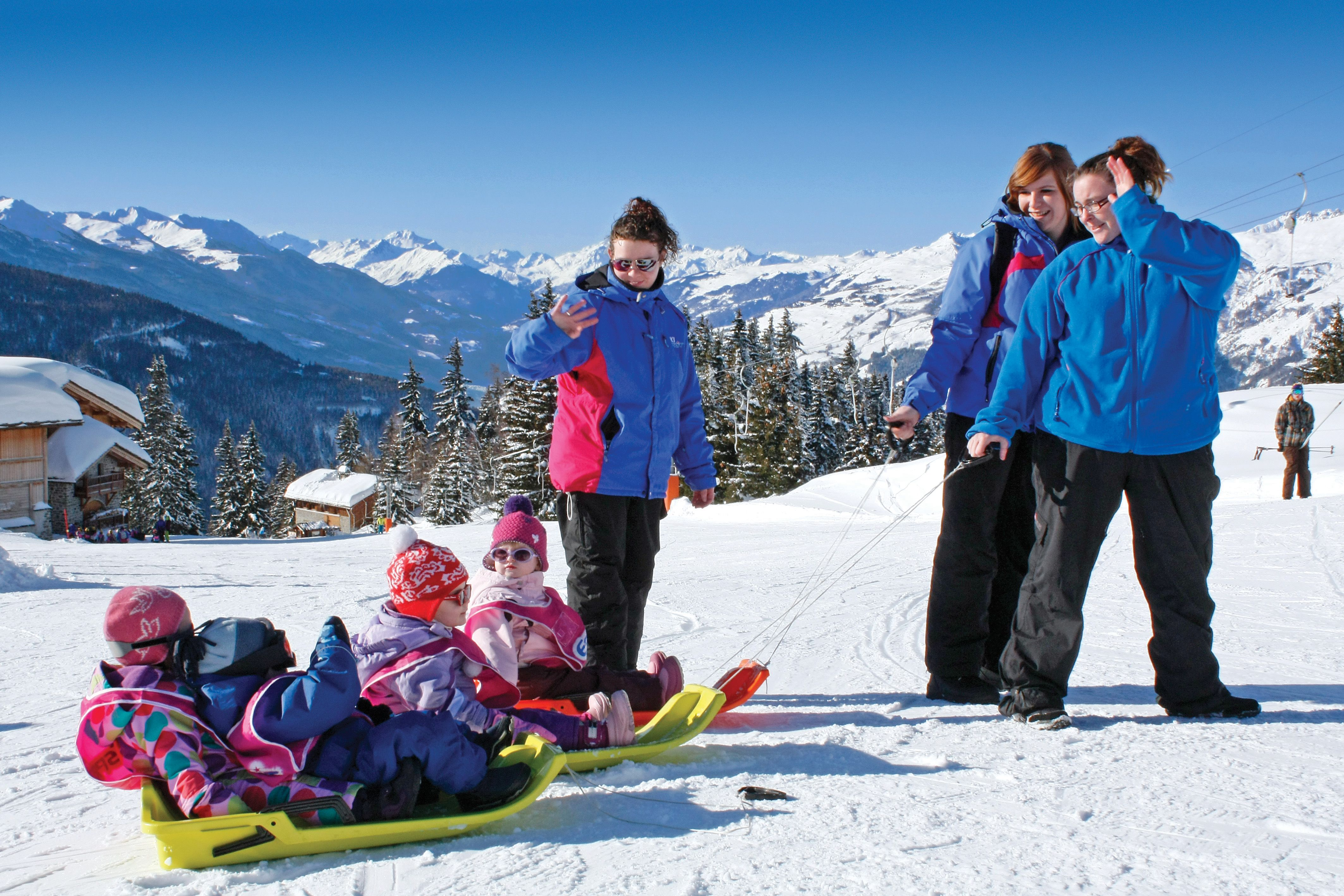 Sledding in La Rosiere.  In the background you can see Chalets Ourson and Landelieres.