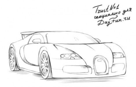 How To Draw Bugatti Veyron Step By Step 3 Cars Drawings Bugatti