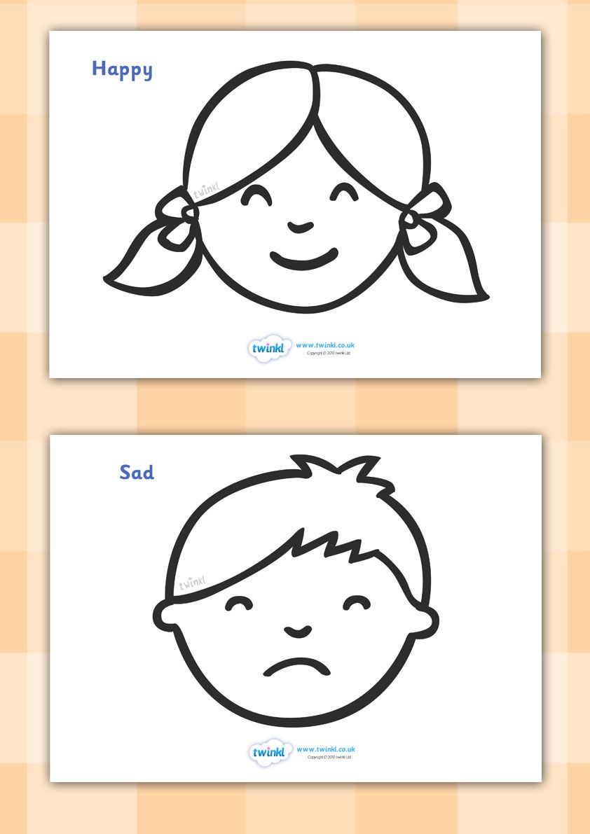 Coloring Book Of Emotional Faces Stock Vector - Illustration of ... | 1191x842