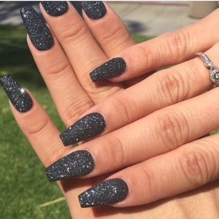 black glitter nails More - Black Glitter Nails … Glitter Nails In 2018…