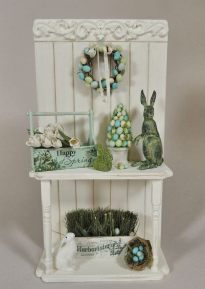 Happy Spring - 1/12 Scale Vignette - Click Image to Close #miniaturedollhouse