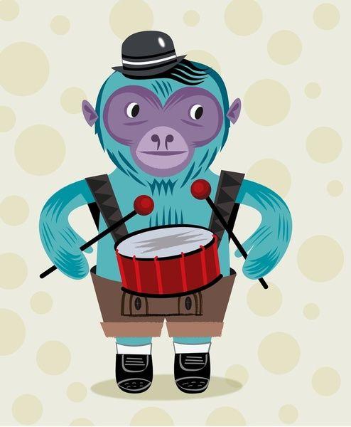 The Monkey Drummer Art Print by Oliver Lake | Society6