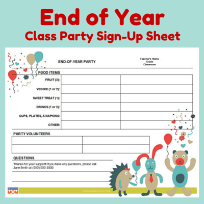 End Of Year Classroom Party SignUp Sheet  Room Mom School And