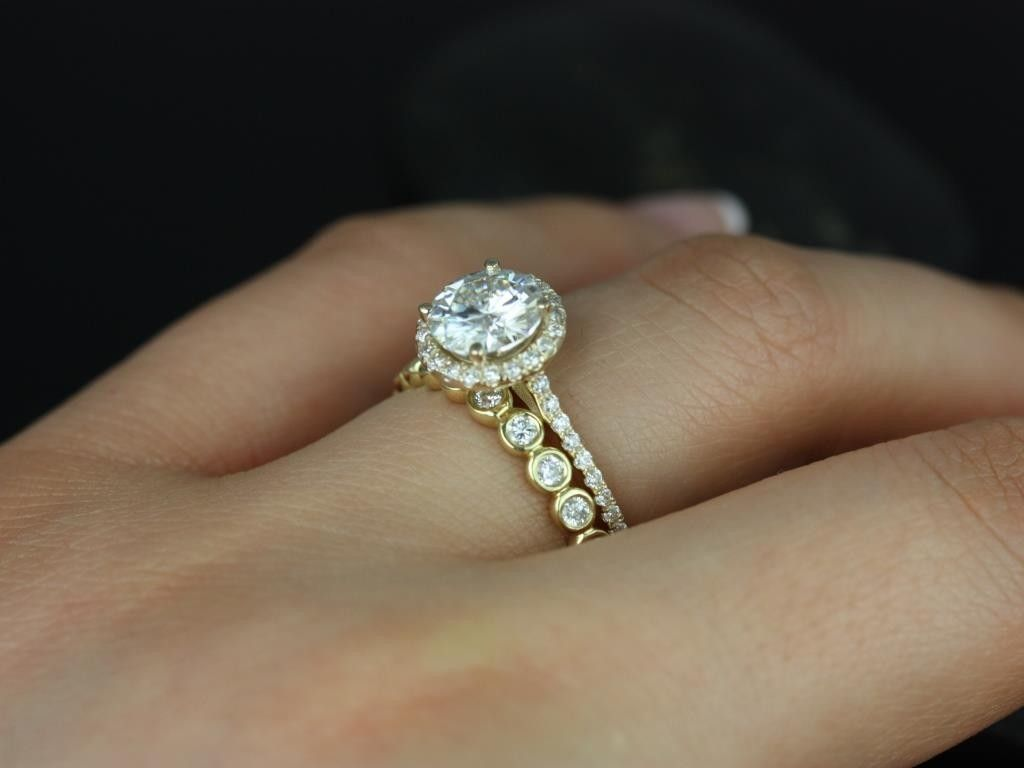 wedding sets Rosados Box Kubian 7mm Bubbles Yellow Gold Round FB Moissanite and Diamonds Halo Wedding Set