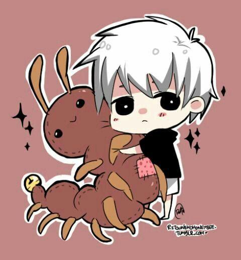 Kaneki Ken, Chibi, Cute, White Hair, Ghoul, Centipede